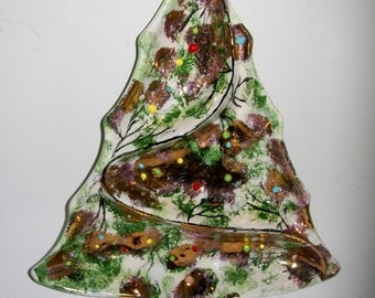 Vintage Christmas Tree Candy Condiment Dish Midcentury Holiday Ceramic Glazed Gold Gilt Beads