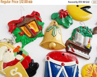 Vintage Ceramic Ornaments Retro Kitschy Set of 12 Hand Painted 1960's