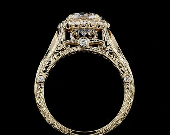 Vintage Halo Engagement Ring, 1.5CT Forever One Moissanite Diamond Ring, Hand Carved Filigree Ring, Milgrain 14K Yellow Gold Proposal Ring