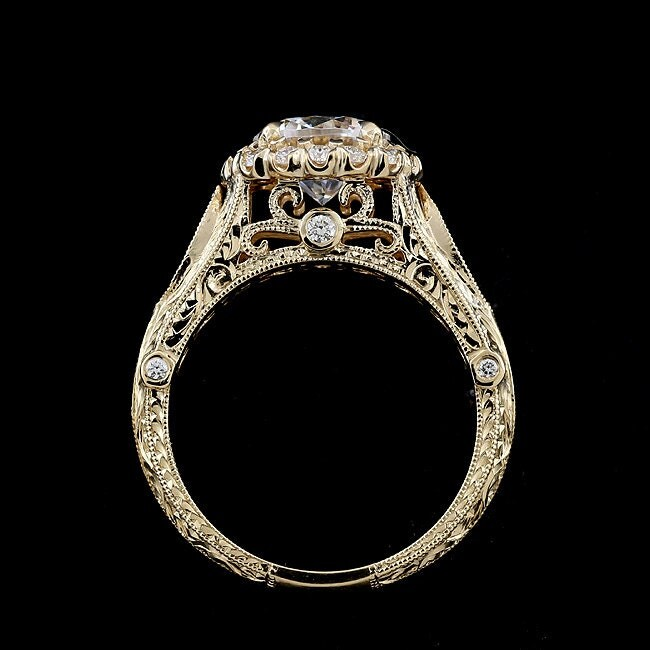Vintage Halo Engagement Ring 1 5ct Forever One Moissanite