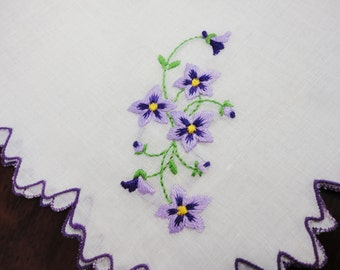 Sheer Linen Handkerchief With Purple-Lavender  Violets