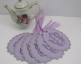 Teapot Tags Gray and Lilac Tea Tags Bridal Showers Tea Party Baby Shower set of 6