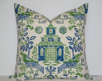 Euro Sham - Chinoiserie Decorative pillow cover - Asian Toile - Kelly green - Indigo blue - Oriental TeaHouse - Medallion - Throw Pillow