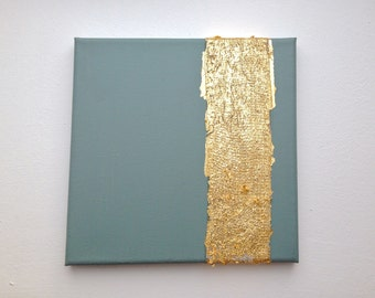 Modern contemporary gold turquoise painting on canvas G14