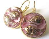 PINK FISH vintage  button earrings, Czech glass fish buttons, gold lever backs