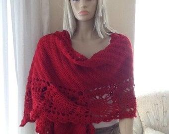 COZY SHAWL - Wedding Shawl / Bridal Shawl / Crochet Shawl / Pineapple Shawl / Crochet Wrap Stole / Rectangular Shawl / Custom Order