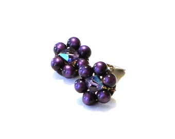 Purple Moonglow and Crystal Cluster Earrings Mid Century Clip Ons