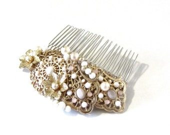 Victorian Style Beaded Pearl Hair Comb White Soft Pink Gold Bridal Hair Jewelry OOAK Upcycled Hair Fashion Something Old Something New