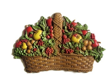 Homco Wicker Fruit Basket Retro Colorful Molded Resin 70's Kitchen Dining Hanging Wall Plaque Decor Country USA