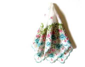 White Daisies Hankie Blue Poppies and Pink Dianthus Womens Pastel Scalloped Edge Handkerchief Bridal Something Blue