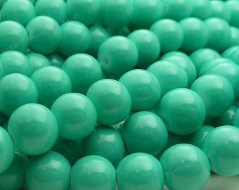 Turquoise Round Glass Beads - 8mm Solid Color Beads - 25pcs - BN22