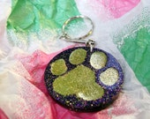 Paw Print Keyrings - Purple and Gold