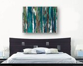 Extra LARGE Wall art Oversized Teal Canvas print dining room living decor Painting of trees colorful abstract landscape blue bedroom decor