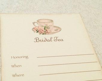 Fill in Blank Invitations-Tea Party Bridal Tea Invitations-Bridal Shower Teacup Shower Invitations