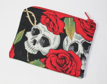 coin purse, change purse, black and red, skulls and roses
