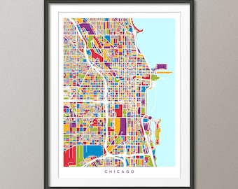 Chicago Illinois Street Map, Map of Chicago Art Print (2475)
