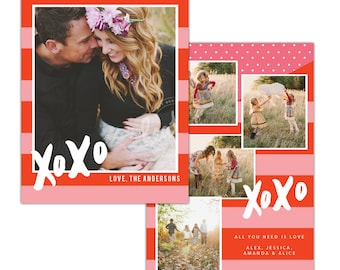 INSTANT DOWNLOAD - Valentine Photocard Template - e1192