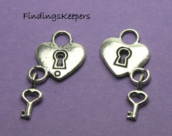 Heart Charm, Lock and Key Charms, Bulk 40 Antique Silver Double Sided U.S Seller - ts850