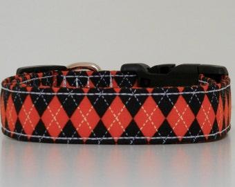 Orange Black Argyle Dog Collar Halloween Collar Made to Order