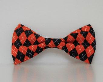 Orange Black Argyle Dog Bow Tie Halloween Collar Made To Order