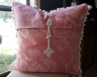 antique pillow, decorative pillow cover, pink damask pillow cover