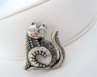 Kitty Cat Pin Rhinestone Cat  Brooch