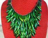 Versatility Necklace Removed 2,4 Rows  Natural Beetle Wing Green All 5 rows