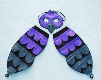 Purple Martin Bird Costume - Mask, Wings, Mask & Wings Combo Pack