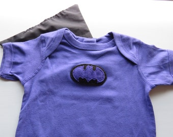 Batman Superhero Baby Short Sleeve Bodysuit with Cape - 18 months