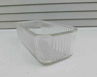 "Vintage Kitchen 8"" x 4"" Ribbed Refrigerator Dish Container Clear Glass"