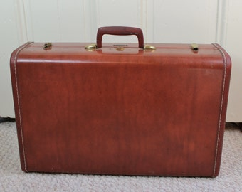 Hard body suitcase- Antique Samsonite Luggage- Vintage luggage- Brown Caramel Leatherette, Style 4921- mid-century travel
