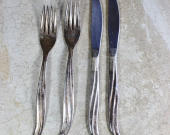 Vintage silverplate TWA Airline flatware- International Silver Co.- Two Forks, Two Knives- Vintage Airplane Travel-