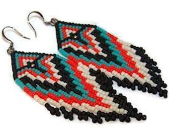 Native American inspired seed bead fringe earrings in Southwestern colors