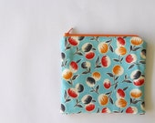 BLACK FRIDAY SALE zip up bag - modern bubble flowers - small sky blue pen case / purse organizer with white, navy, red, and orange flower pa