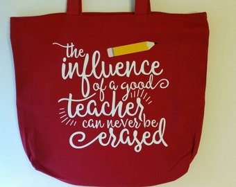 The influence of a good teacher can never be erased with pencil Market Book Tote Bag Red Teacher gift