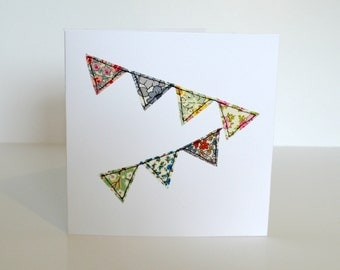 Fabric applique bunting greetings card, blank embroidered greetings card, celebration card, stitched fabric bunting