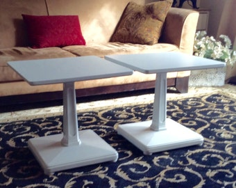 Set of Mid Century Square Pedestal Coffee Table or End Tables