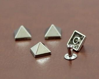 10Pcs 8*6mm Silver Pyramid Rivet Studs For Leather Craft Punk Rock Style DIY RI449