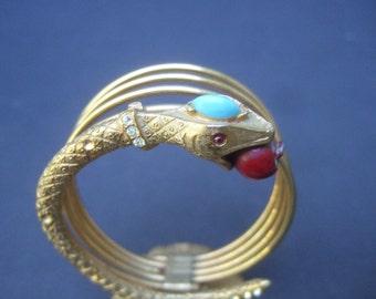 Exotic Gilt Metal Jeweled Serpent Letter Holder