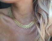 Bricke Necklace -- reclaimed chain collar necklace