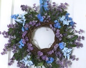 Blue Floral Wreath, Home Decor, Front Porch Decor, Front Door Grapevine Wreath