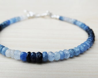 Blue Sapphire & Silver Bracelet With Star, Sterling Silver