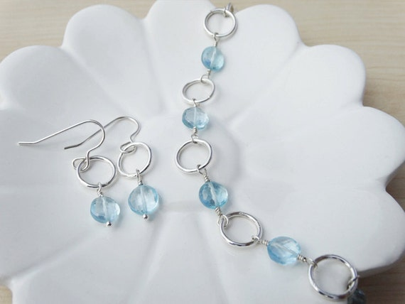 Sky Blue Topaz & Silver Link Bracelet With Matching Earrings - Sterling Silver