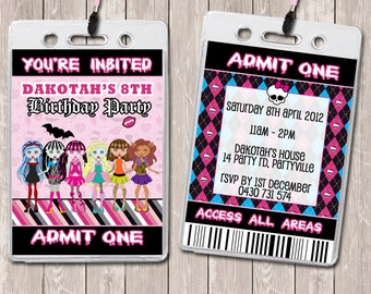 Monster High Personalised VIP Lanyard Invitations x 10