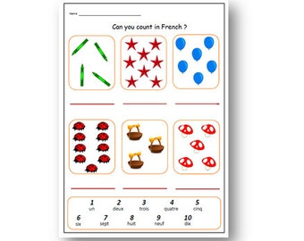 FRENCH WORKSHEET about NUMBERS,Kid's Writing Activity,French Teacher,French Classroom,French Education,School Worksheet,Teaching Resources