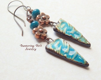 Long  Boho Earrings, Turquoise Blue Happy Fish Ceramic with Copper Flower, Lightning Earrings, Unique Gift for Woman