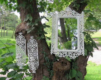 Ornate White Mirror and Sconce Set -