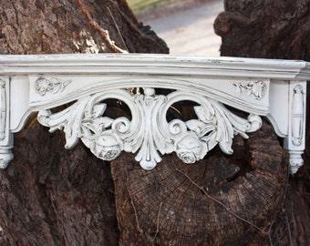 Vintage painted Heirloom White Ornate  Wall Shelf - Syroco - Baroque - Antique Glaze