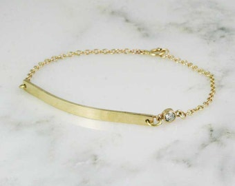 Solid 14k Gold Bar Bracelet with Diamond - Engraved Bracelet - Personalized Coordinates Medical ID Bracelet