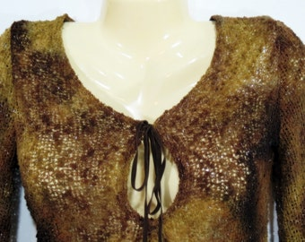 Boho Hippie Vintage Brown Sweater Dress Bell Sleeves Fringe by Damoda Size Small